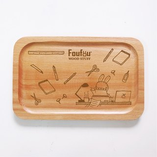 """Foufou"" Wooden square plate - stationery set. My Desk"