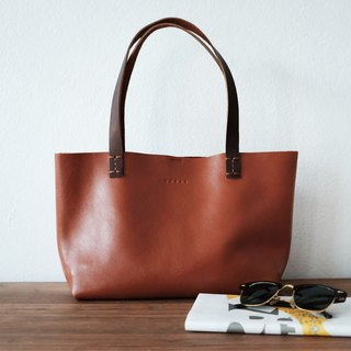 Mini Simple Leather Tote Bag / Small Tan Leather Handbag