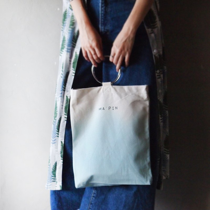 Autumn wave blue gradient - hand dyed tote bag