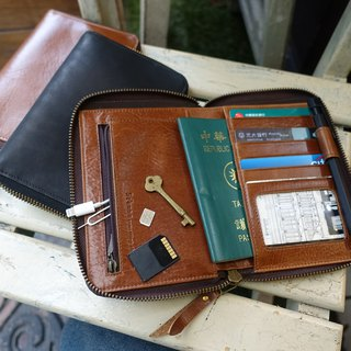 Sienna leather multi-purpose travel passport card wallet