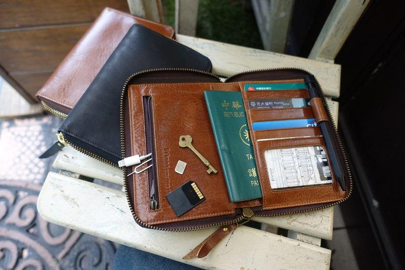 Sienna真皮多用旅行護照卡片皮夾