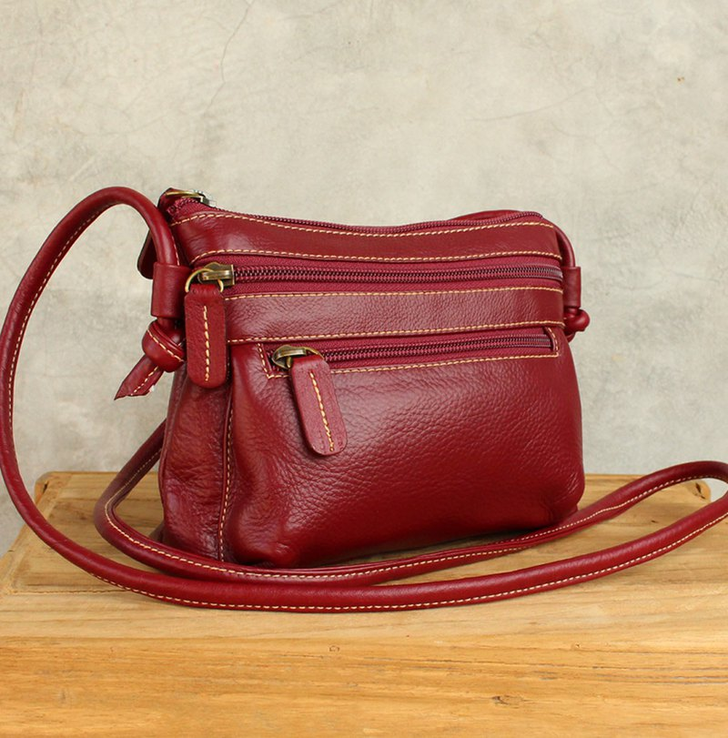 Mini Cross Body Bag - Cookies - Burgundy (Genuine Cow Leather) / 皮 包