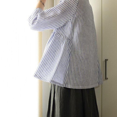 Daily Handmade Classic Blue Striped Air Sleeve Sleeve Umbrella Sweater