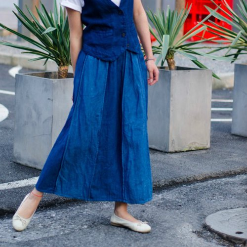 July and An Sheng | Indigo Blue Hemp Patch Reversible Retro Half Skirt Elastic Elastic Waist Skirt Handmade Natural Plant Dye Spring | NAMSAN