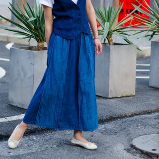 July and Ansheng | Indigo Hanma piece double-sided retro half-length skirt stretch elastic waist skirt