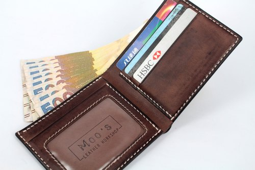 MOOS matte brown coffee tanned cow leather full hand sewing simple enough short wallet short cloth