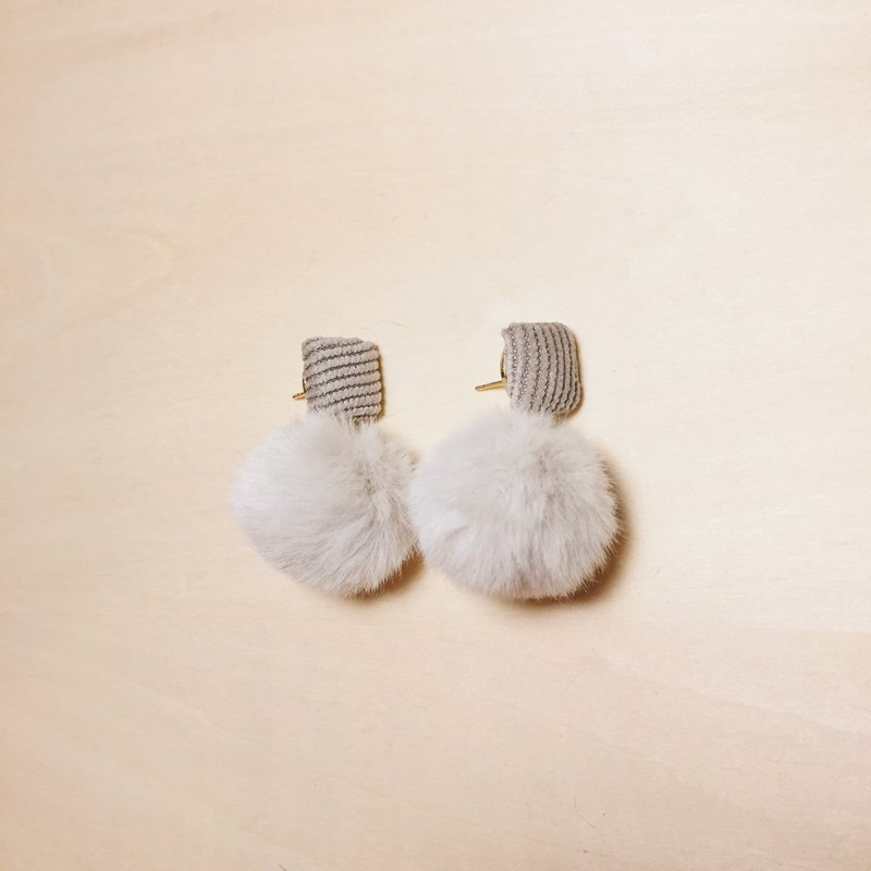 Vintage Corduroy Square Ear Grey Hair Ball Earrings
