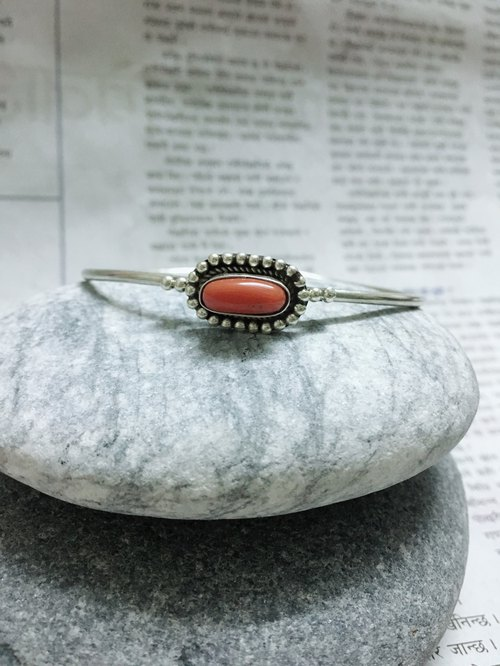 Coral bangle handmade in Nepal 92.5% Silver