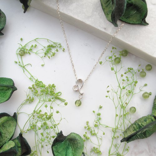 Bigman Taipa [Constellation Birthstone Series] Leo × White Crystal × Peridot × Handmade Sterling Silver Necklace