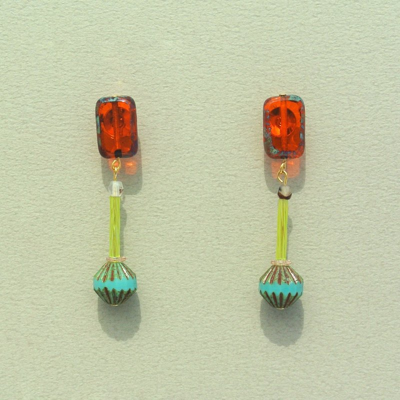 Transparent rectangular orange painting glass  / lake green antique lantern beads earrings