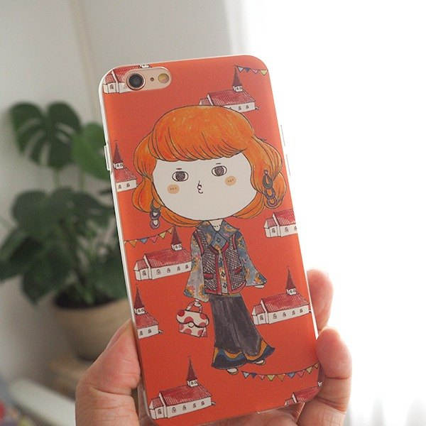 Scandinavian retro style / all-inclusive drop soft shell protective cover / illustration design original mobile phone shell / holiday gift / Miss Bao Zi