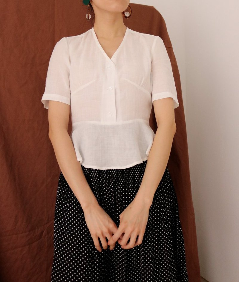 French linen flounced white top (can be ordered in other colors)