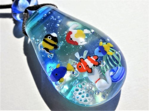 """Aquarium"" pendant glass Tonbon ball jellyfish cat aquarium summer"