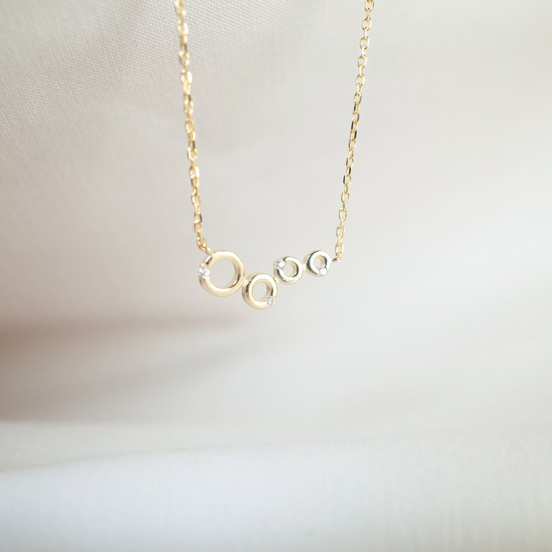 Round circle micro-encrusted shape [925 sterling silver] gold necklace [clavicle chain]