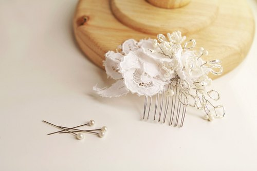 Handmade Lace Flower Headpiece, Wedding Gift, Wedding Headpiece, Lace Bridal Headdress, Bridal Gown