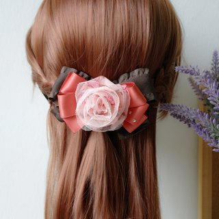 Chiffon Fabric Flower Ribbon Bow, Barrette Hair Clip HA0213