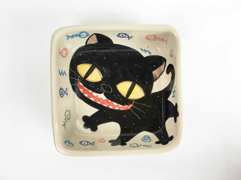 Nice Little Clay Generous Bowl Happy Cat White 02012-03