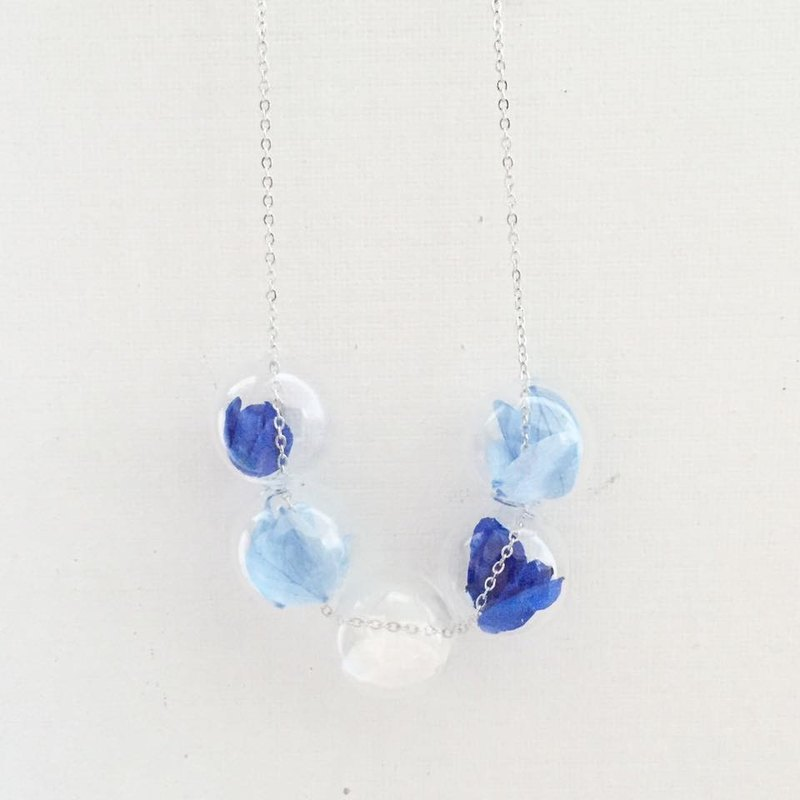 Navy Sky Pastel Blue Necklace Bridesmaid gift wedding gift Glass Ball Flower