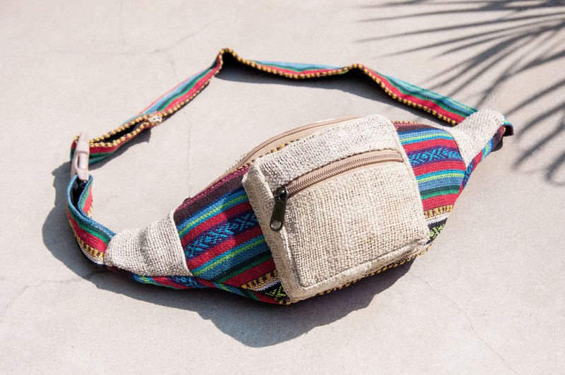 Carry-in pockets cotton and linen pockets hand-woven cloth side backpack cross-body bag chest bag shoulder bag - Moroccan blue