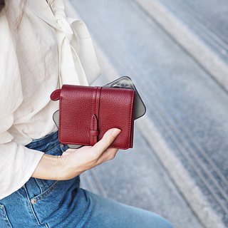 Charlotte: Mini wallet, Leather wallet, Burgundy wallet, folded wallet