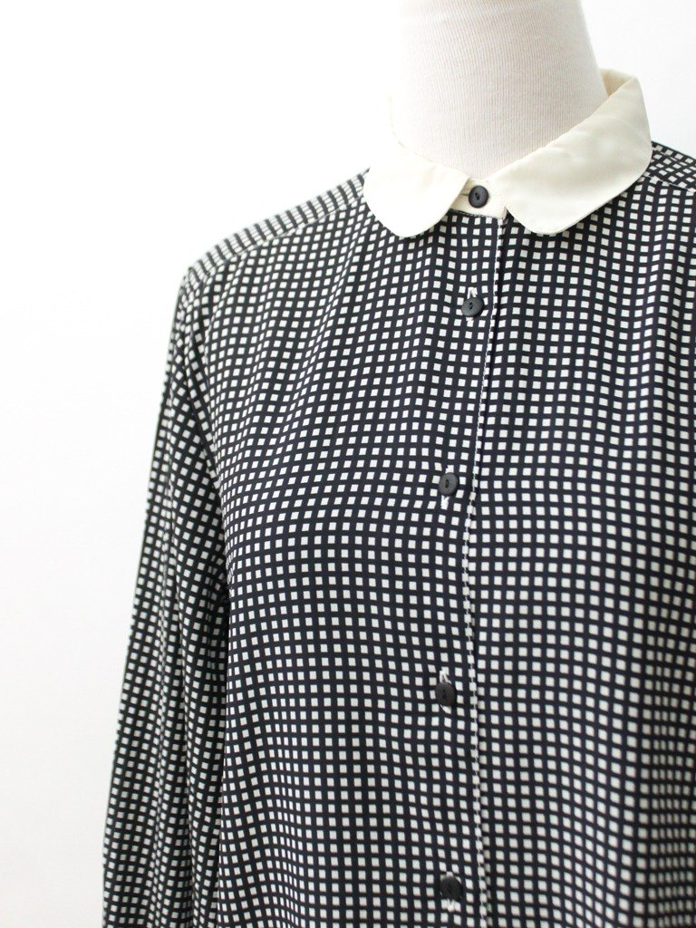 [RE0407T1903] Nippon black plaid collar vintage plaid shirt stitching