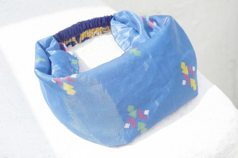 Limited to a handmade hair band / French hair band / colorful flower hair band / satin loose hair band / satin silk hair band / flower hair band - blue geometric national wind totem