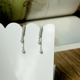 MissQueeny 925 Silver Diamond small natural pearl earrings detachable two wear