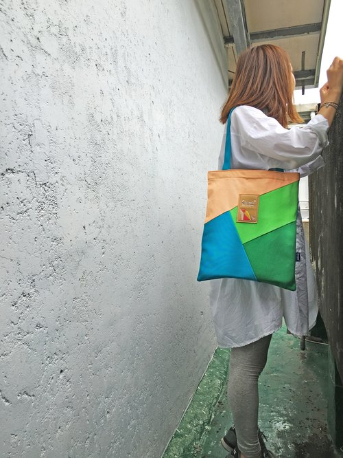 Spell color portable Shoulder Bag (green line)