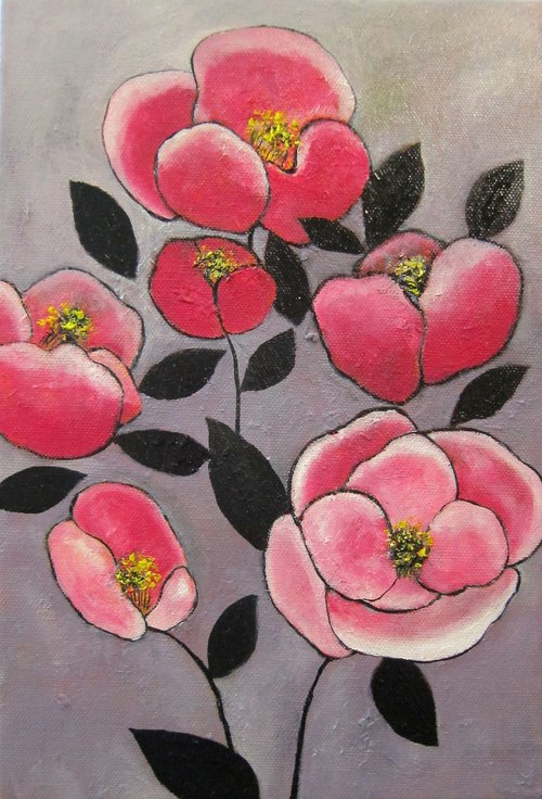 High Su-wide painting creation Camellia