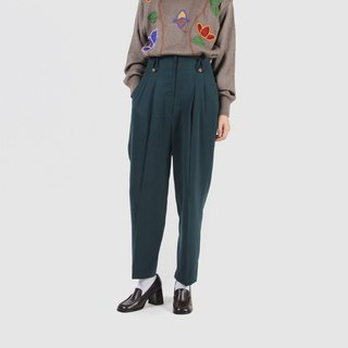 [Egg plant ancient] forest pleated suede vintage old pants
