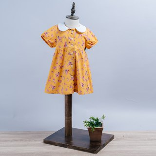 Round neck dress - mustard yellow rose young children newborn children's hand made