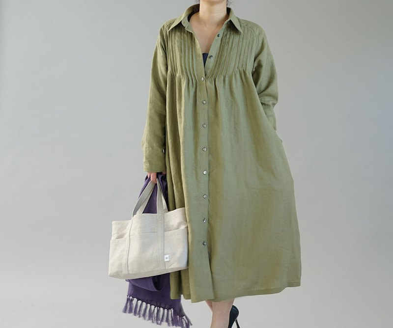wafu  linen dress / long length / long sleeve / A-line dress / green  a081j-ign