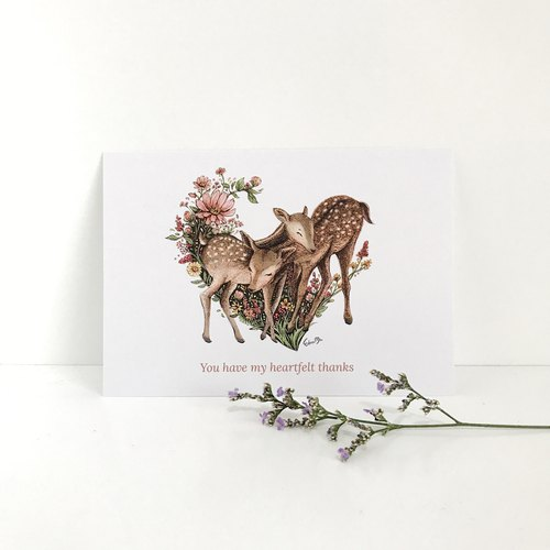 Heart-shaped Deers Postcard - You have my heartfelt thanks