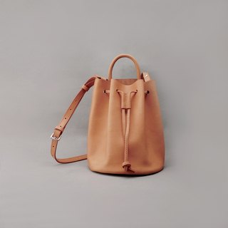 Mini Bert leather bucket bag side back bundle bag / tan color vegetable tanned leather / handmade bag