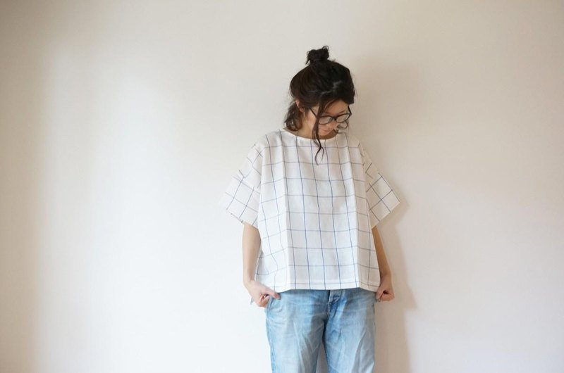 Linen check blouse OFF/W