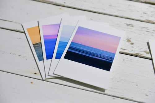 Sea handmade postcards - four sets of subscripts