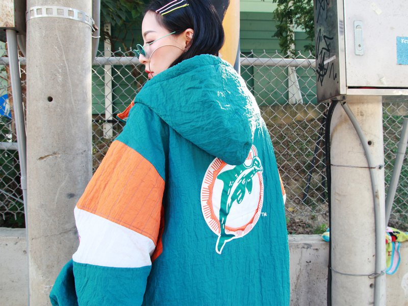 ///Fatty bone/// 90s STARTER NFL DOLPHINS half zip hooded sports top