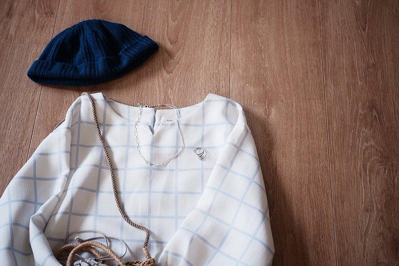 溫柔散步曲格紋上衣-藍格