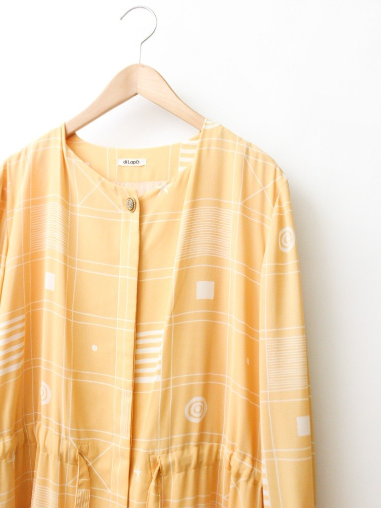 【RE0809D1332】 Summer Japan retro fashionable pattern sweet yellow long-sleeved ancient dress