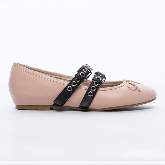 [Saint Landry] LAND rock style buckle design ballet shoes - elegant apricot