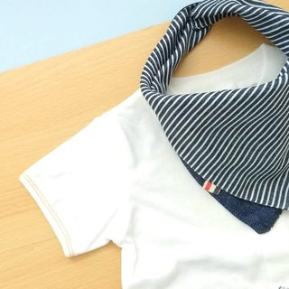 Baby Bib, Reversible Bandana Bib, Japanese Double Gauze Cotton, Navy Denim