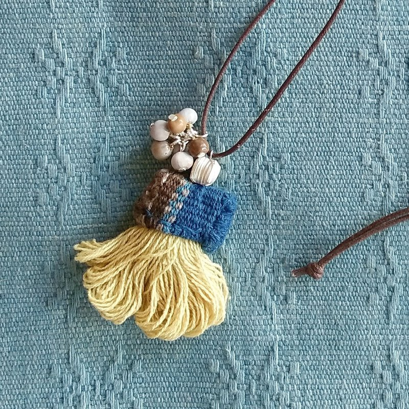 Yellow Fringe Necklace / Karen Silver Hand Weaving Cloth Plant Dyed Thread Juzdama job's tears Tassel