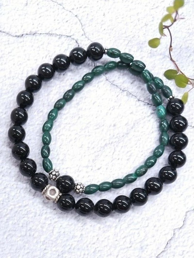 wristband. Malachite Black Coral 925 Sterling Silver Double Circle Bracelet 5mm/8mm Valentine's Day / Christmas Gift