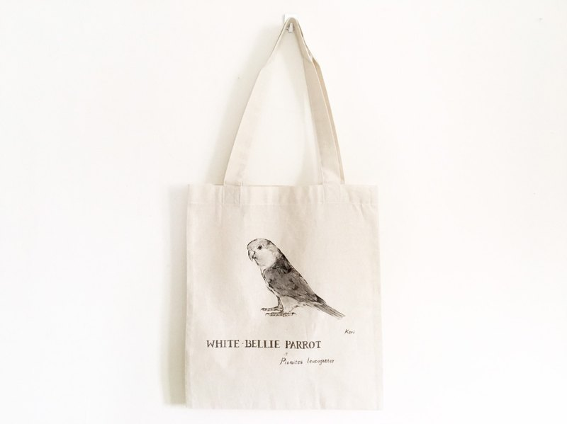 Pure hand-painted bird cotton shopping bag ‧ gold head Keck parrot