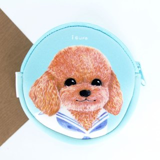 i money water blue purse hand-painted wind - H8. red poodle dog