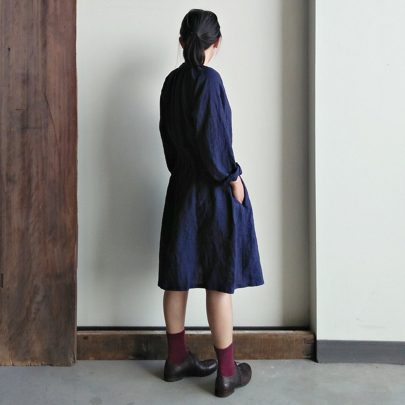 Fine folding sleeves drawstring dress / shirt linen dark blue