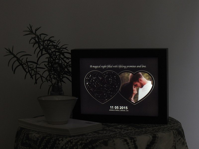 Wedding anniversary and wedding gift starry sky and photo night light creative decorative painting light box dimmable
