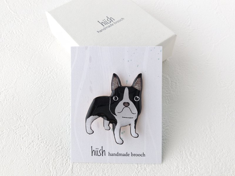 Boston terrier brooch