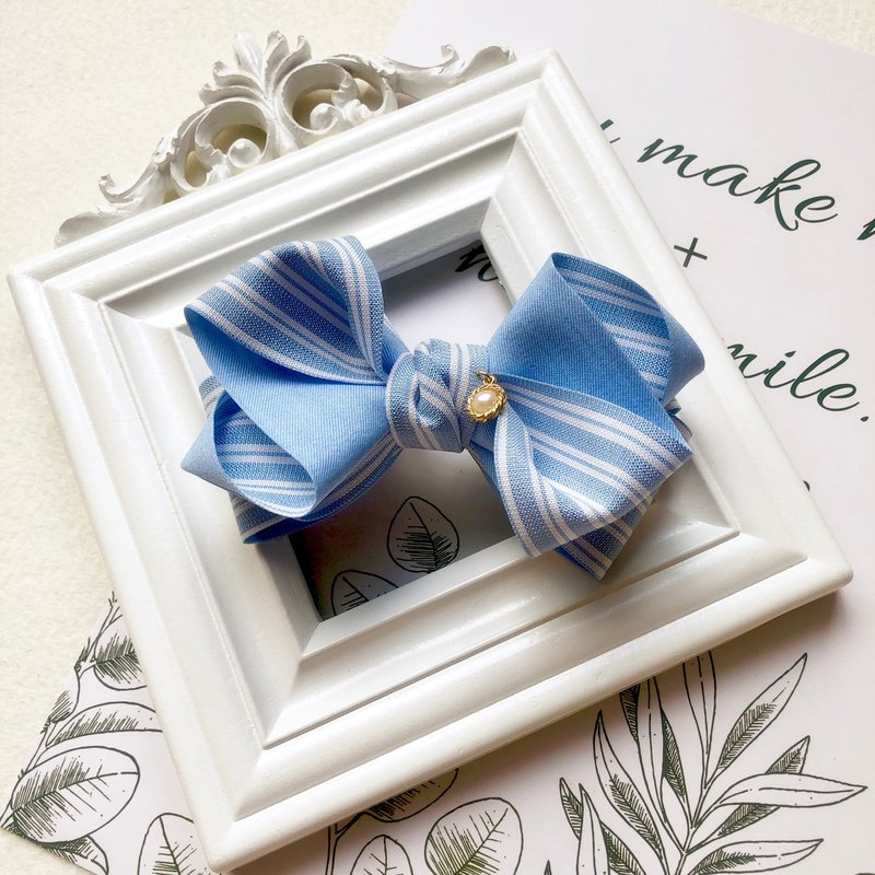 Striped double-sided multi-layer bow spring clip / water blue
