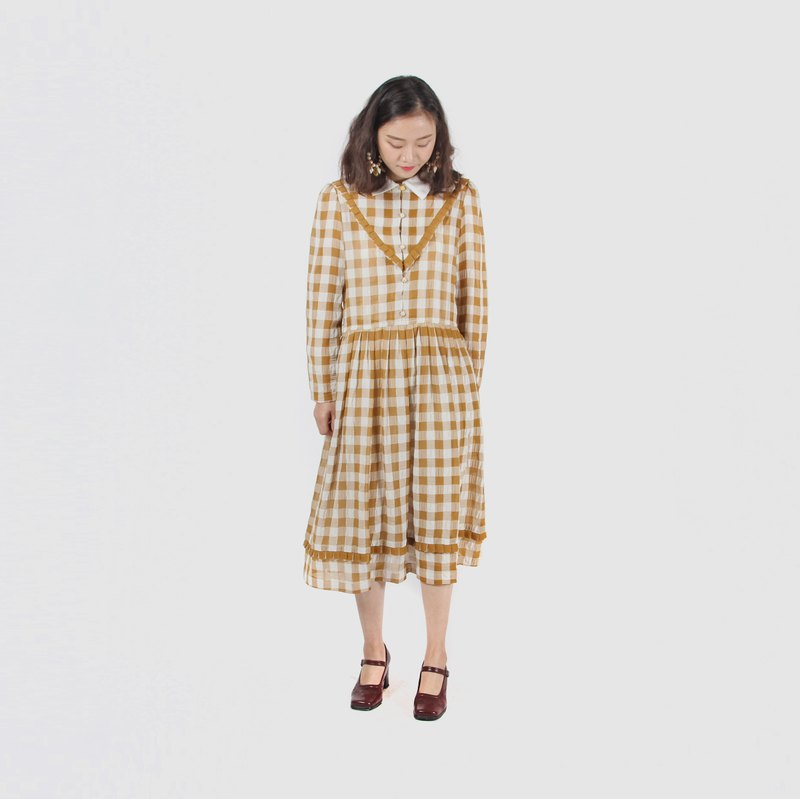 [Egg Plant Vintage] Honey Gege Lotus Leaf Vintage Dress